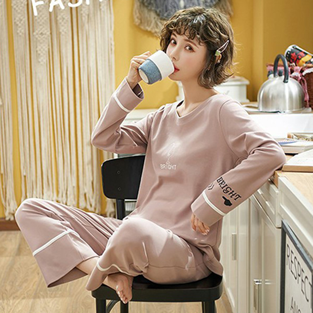 Couples Men And Women Autumn And Winter Long-sleeved Cotton Loose Pajamas Home Wear X3995 female models_XXL