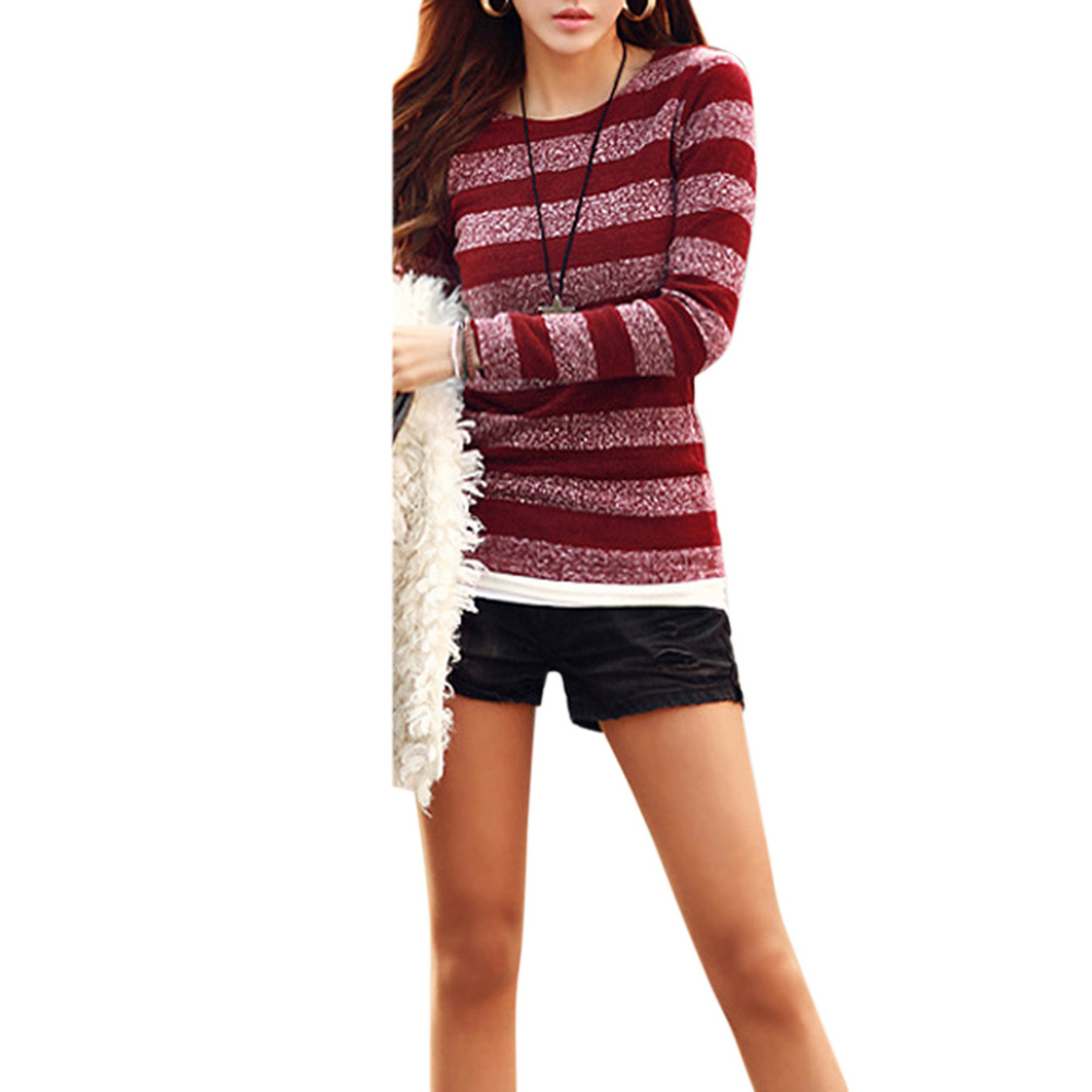 Women All Match Slim-fit Fashion Look Long Stripes Pattern Long Sleeve Shirt Wine red _S