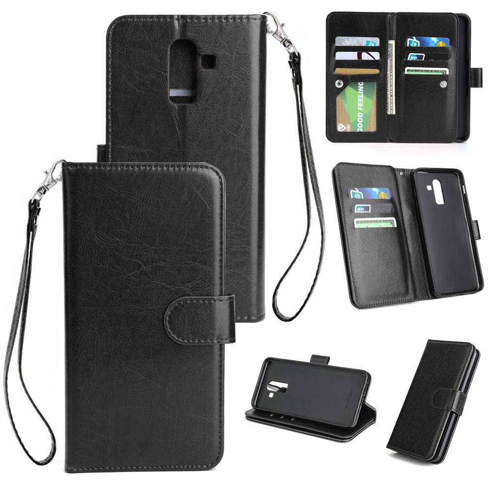 For Samsung J8 2018 PU Non-slip Shockproof Cell Phone Case with 9 Card Slots Lanyard Bracket black