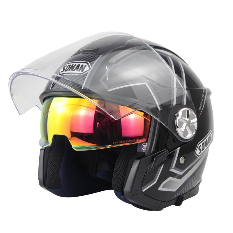 Motorcycle Helmet 3/4 Electrical Helemets Dual Visor Half Face Motorcycle Helmet   Black Silver Sky Array_XL