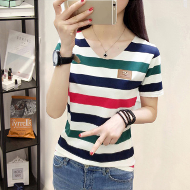 [Indonesia Direct] Women Summer Loose All-match V-neck Stripes Short Sleeve T-shirt Red and green stripes_L