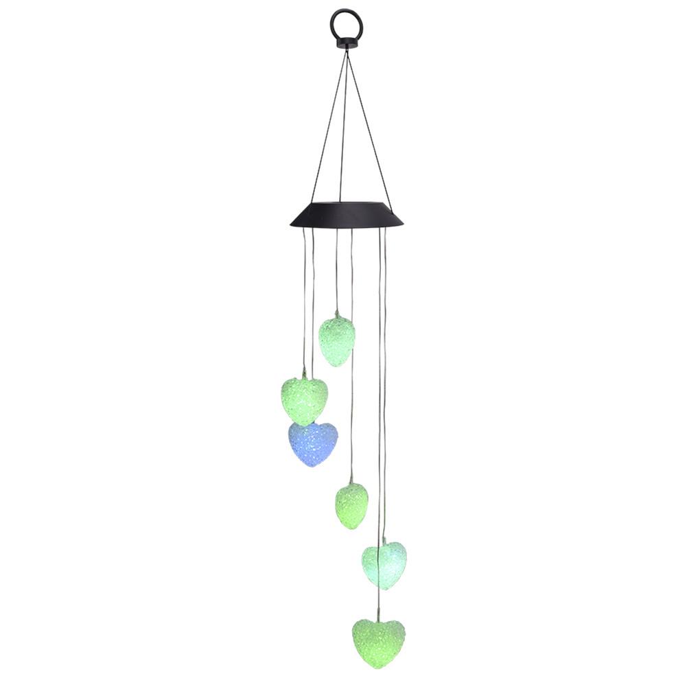 [US Direct] 2v 40mah Heart-shaped Wind  Chime Solar Intelligent Light Control Corridor Decoration Pendant Colorful