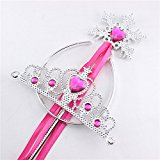 [EU Direct] Princess Dress Up Accessories Tiara Crown and Snowflake Wand Set Children Cosplay Accessories