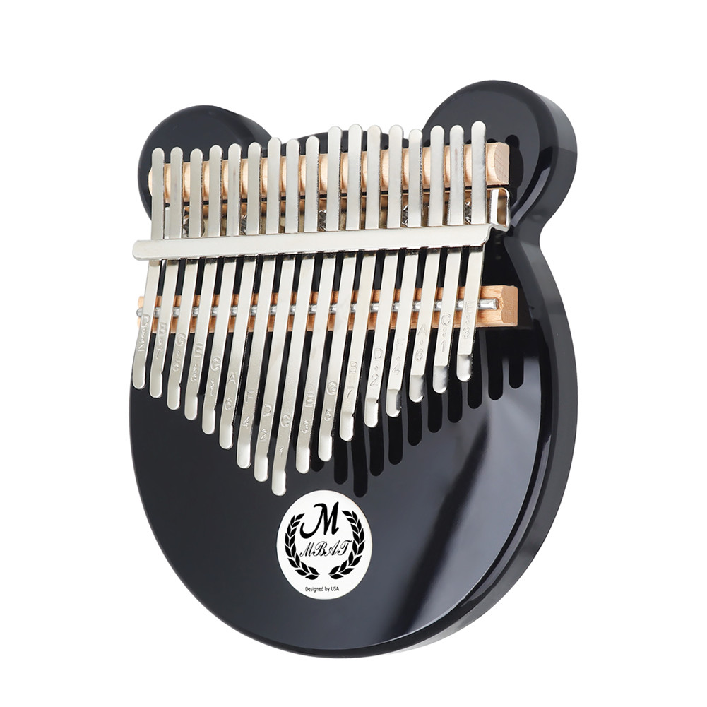 Kalimba Acrylic 17 Key Thumb Piano with Tuner Hammer Gig Kalimba Manual black_Add EQ