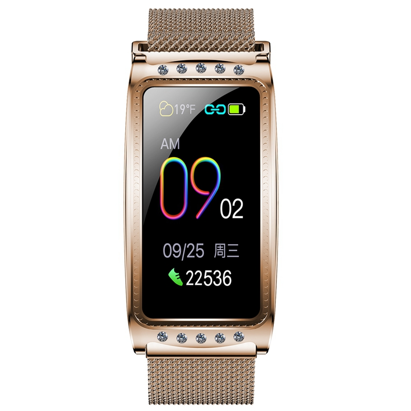 F28 Smart Watch Sport Fitness Heart Rate Blood Pressure Oxygen Female Physiological Period Reminder Fitness Bracelet Golden