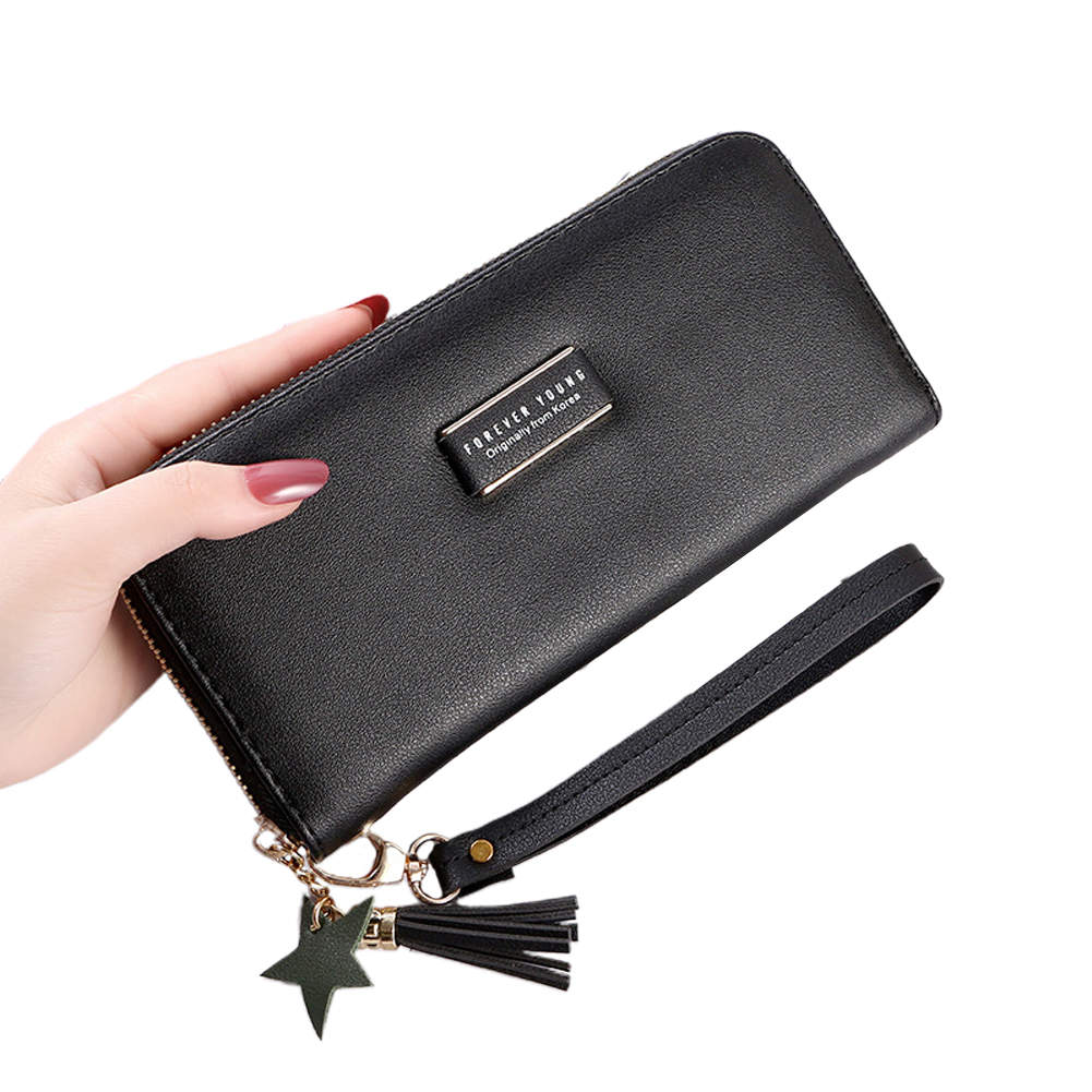 Women Long Wallet PU Leather Purse ID Bank Card Cellphone Coin Holder Zipper Hand Bag black