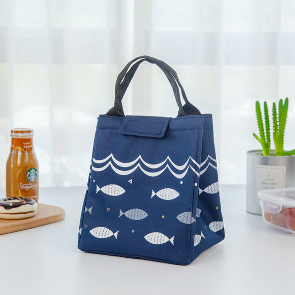 Thicken Insulated Lunch Bag Reusable Lunch Box Cute Canvas Fabric Lunch Tote Handbag Navy