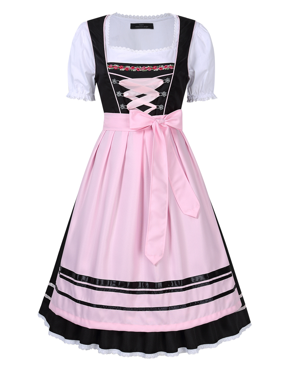 Women's Oktoberfest Holiday Three Piece Dress Suit Pleated Lace Trim Stitching Short Sleeve Dresses