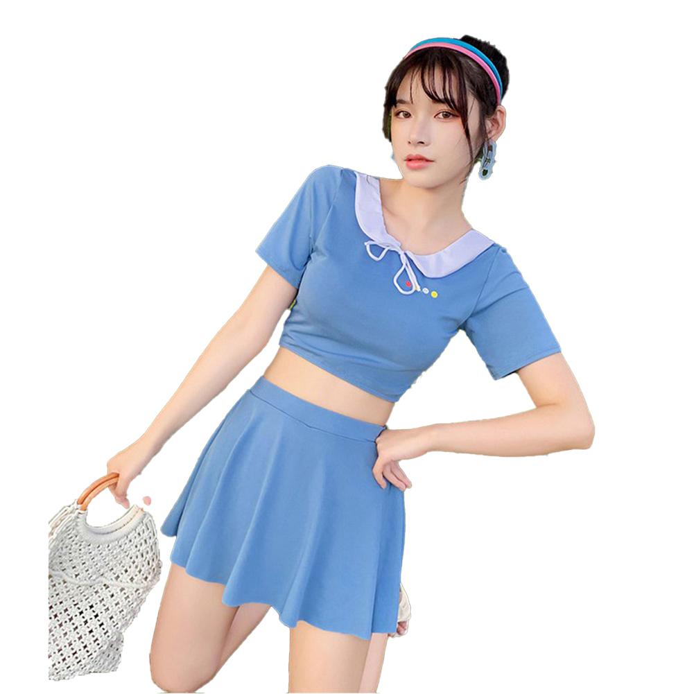 2 Pcs/set Women  Split  Skirt  Swimsuit Boxer Anti-exposure Conservative Fashion Spring Swimwear Blue_L