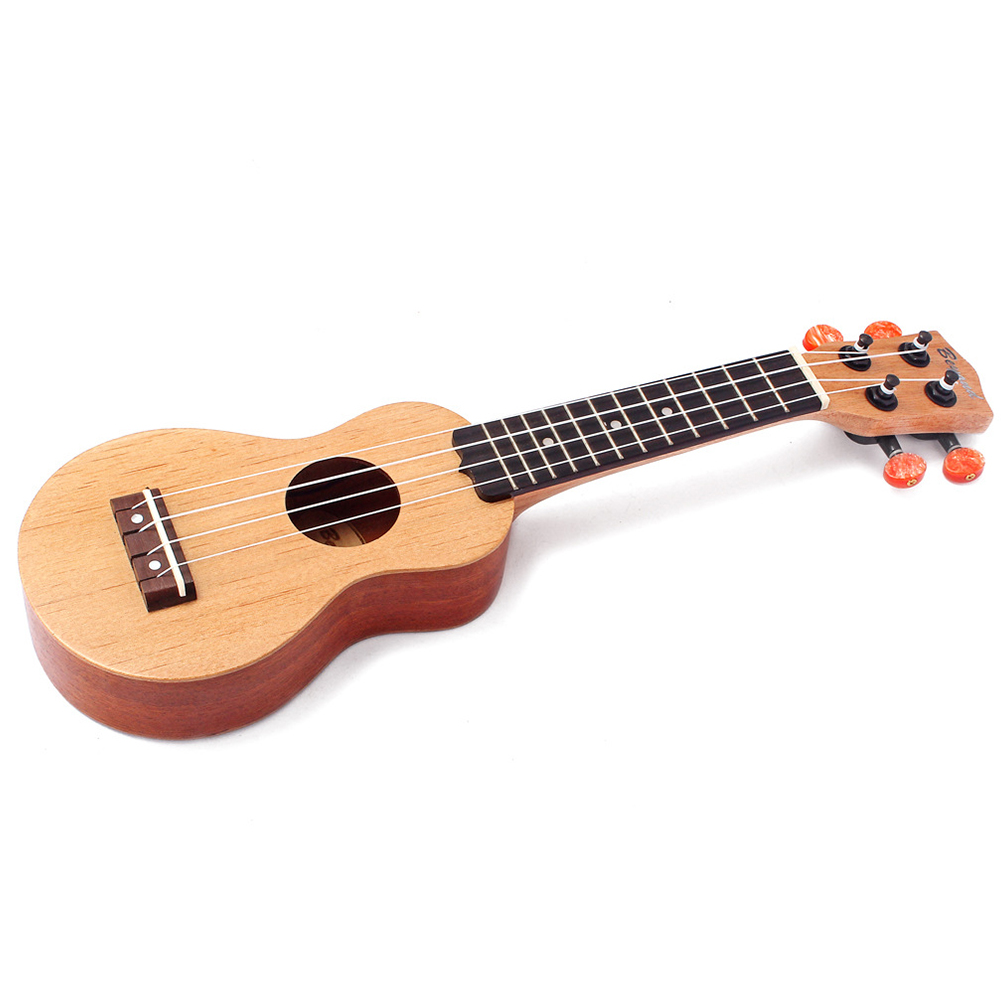 17 Inch Redwood Mini Pocket Guitar Ukulele Music Instrument Toy with Pouch Wood color
