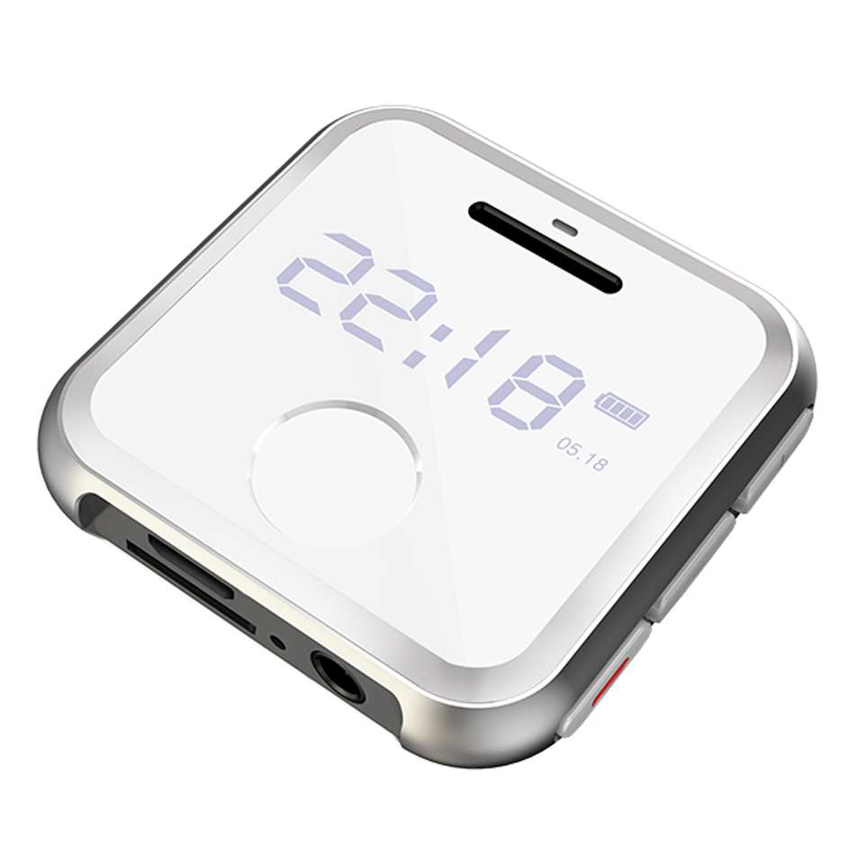 H-R300 0.9inch Screen Mini Metal Mp3 Player Entry-level Music Players with FM Radio Voice Recorder white