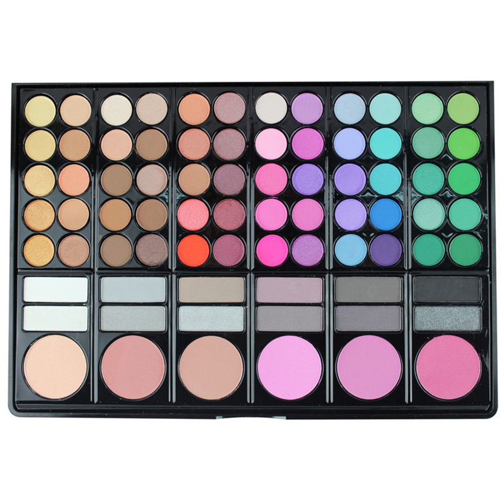 78 Colors/Palette Glitter Matt Eyeshadow + Concealer + Lip Gloss Makeup Set with Mirror 2 Double-end Brushes