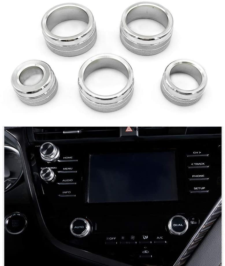5pcs Center  Console  Knobs  Ac  Air  Conditioning  Button+audio+function+rear  Mirror  Knob  Cover Trim For Camry 2018 2019 2020 Silver