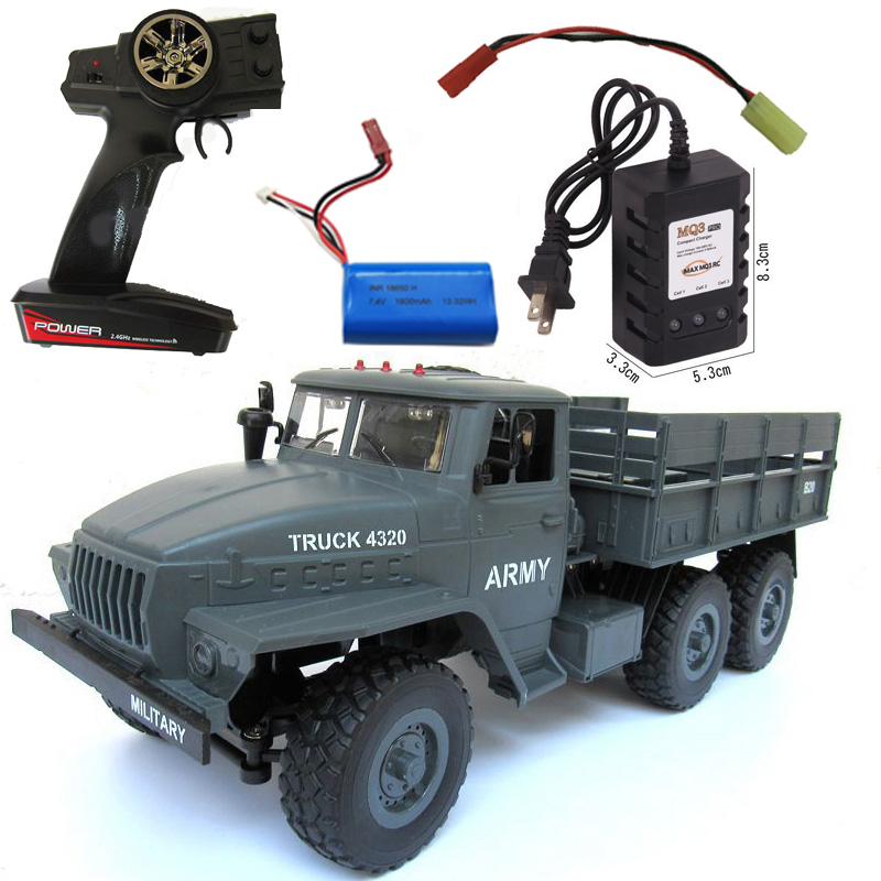 MZ YY2004 15KM/H 2.4G 6WD 1/12 Military Truck Off Road RC Car Crawler 6X6 Toys RC Models For Kids Birthday Gift Single battery (1800mah)