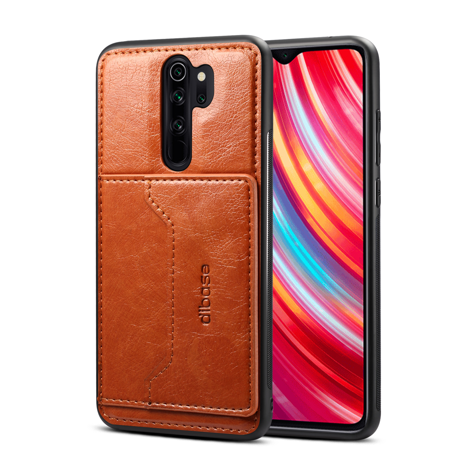 For Red Mi NOTE 8/8 Pro Cellphone Smart Shell 2-in-1 Textured PU Leather Card Holder Stand-viewing Overall Protection Case brown