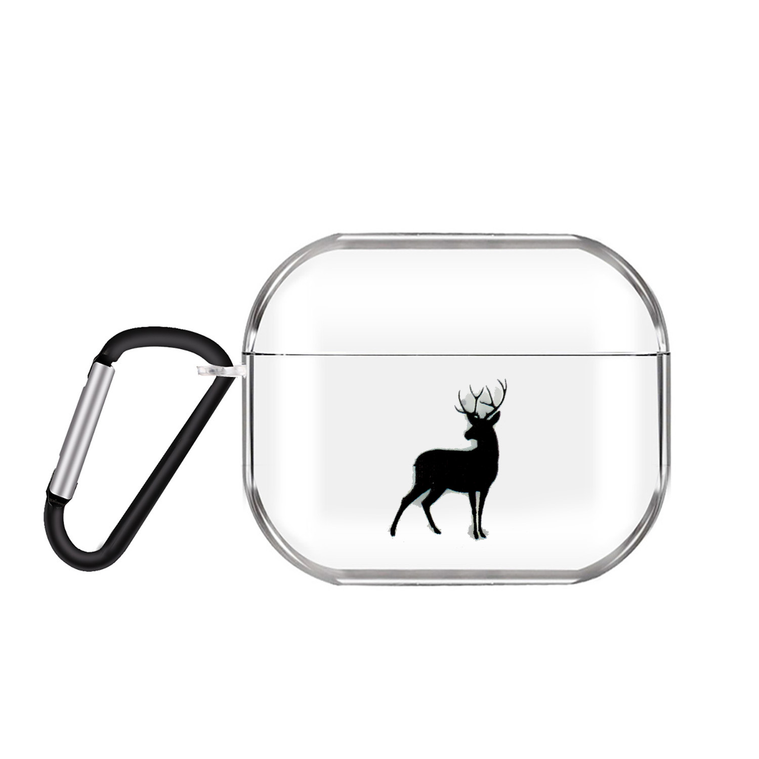 For AirPods Pro Headphones Case Clear Cute Earphone Shell with Metal Hook Overall Protection Cover 20 deer
