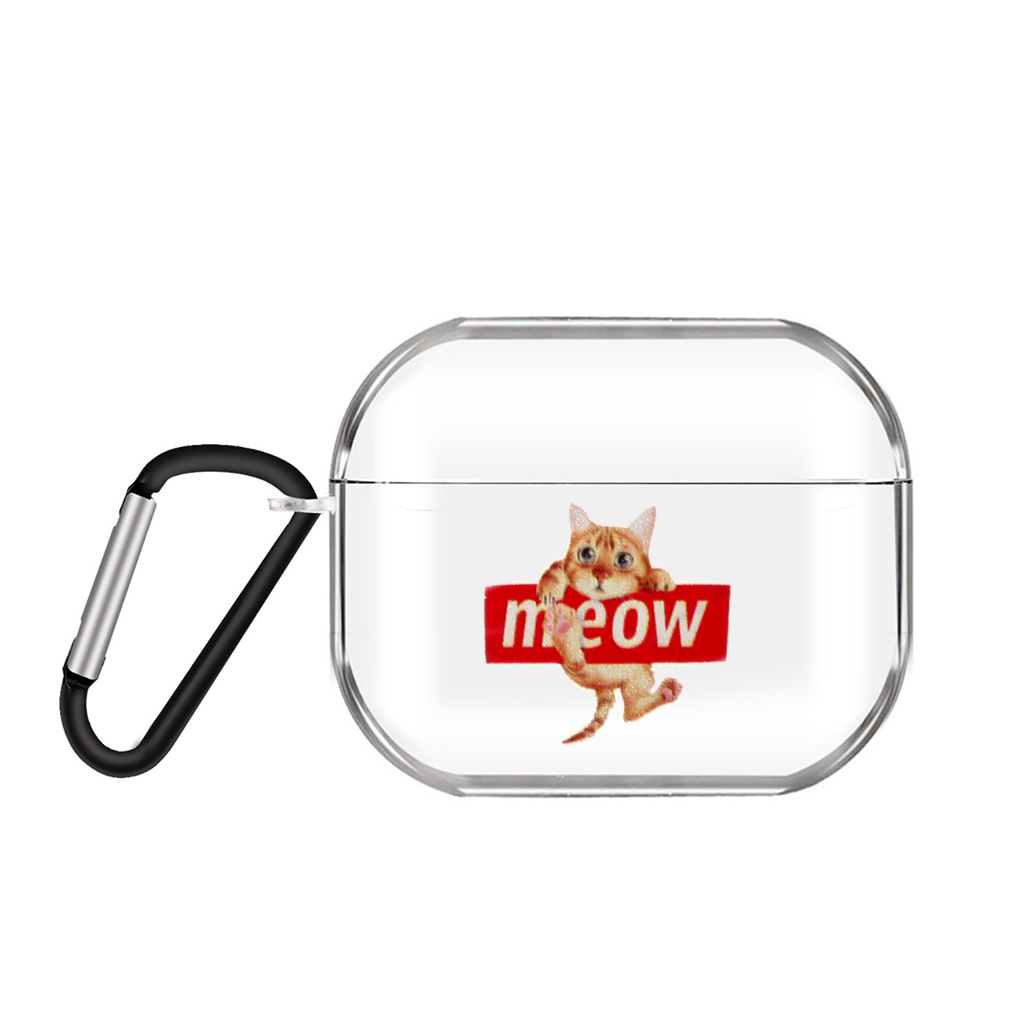 For AirPods Pro Headphones Case Clear Cute Earphone Shell with Metal Hook Overall Protection Cover 19 cats