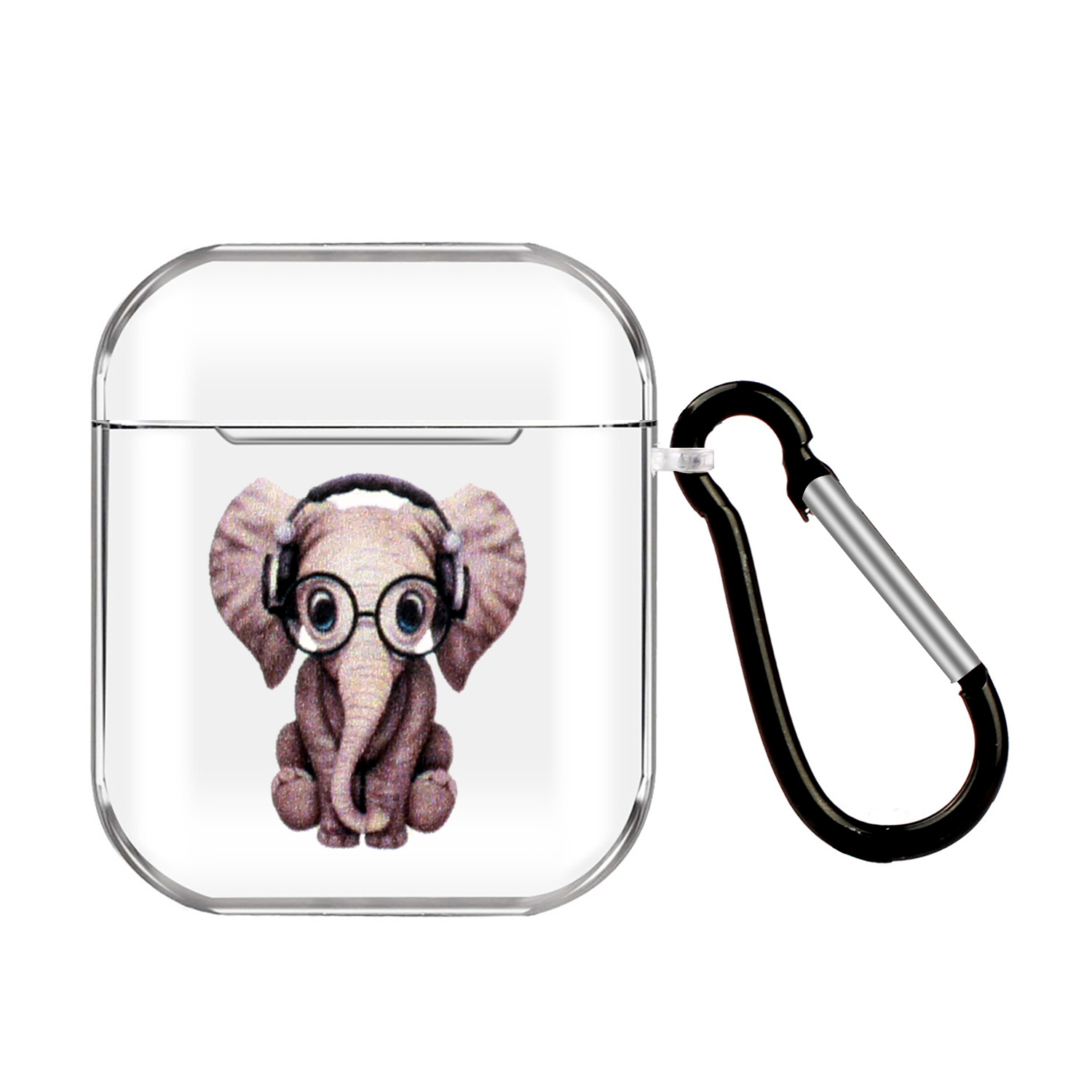 For AirPods 1/2 Headphones Case Cartoon Transparent Earphone Shell with Metal Hook Full Protection 1 Music Elephant