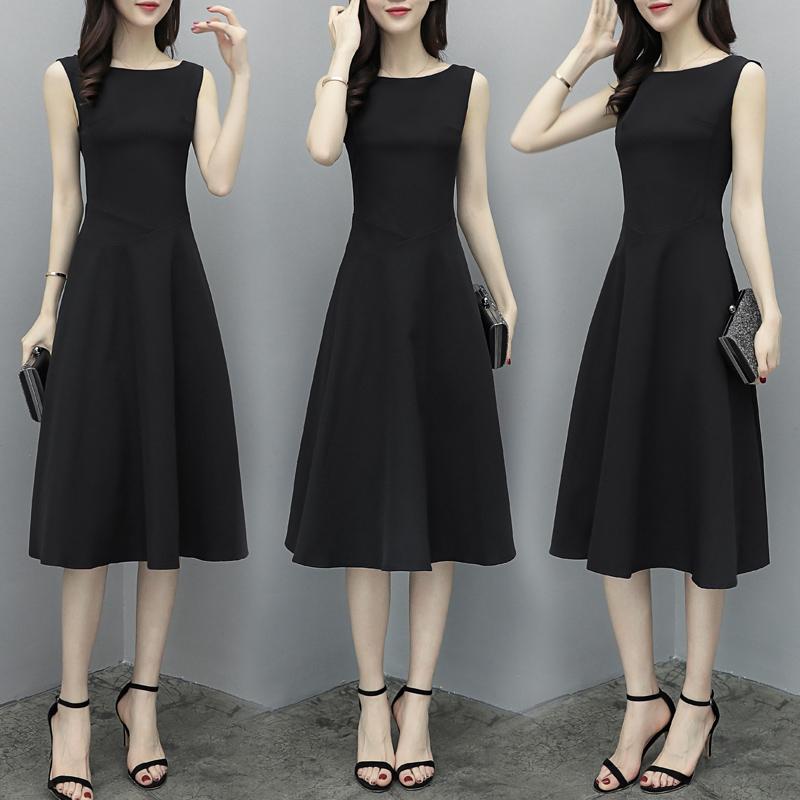 Women Fashion Waisted A-line Solid Color Sleeveless Dress black_XXXL