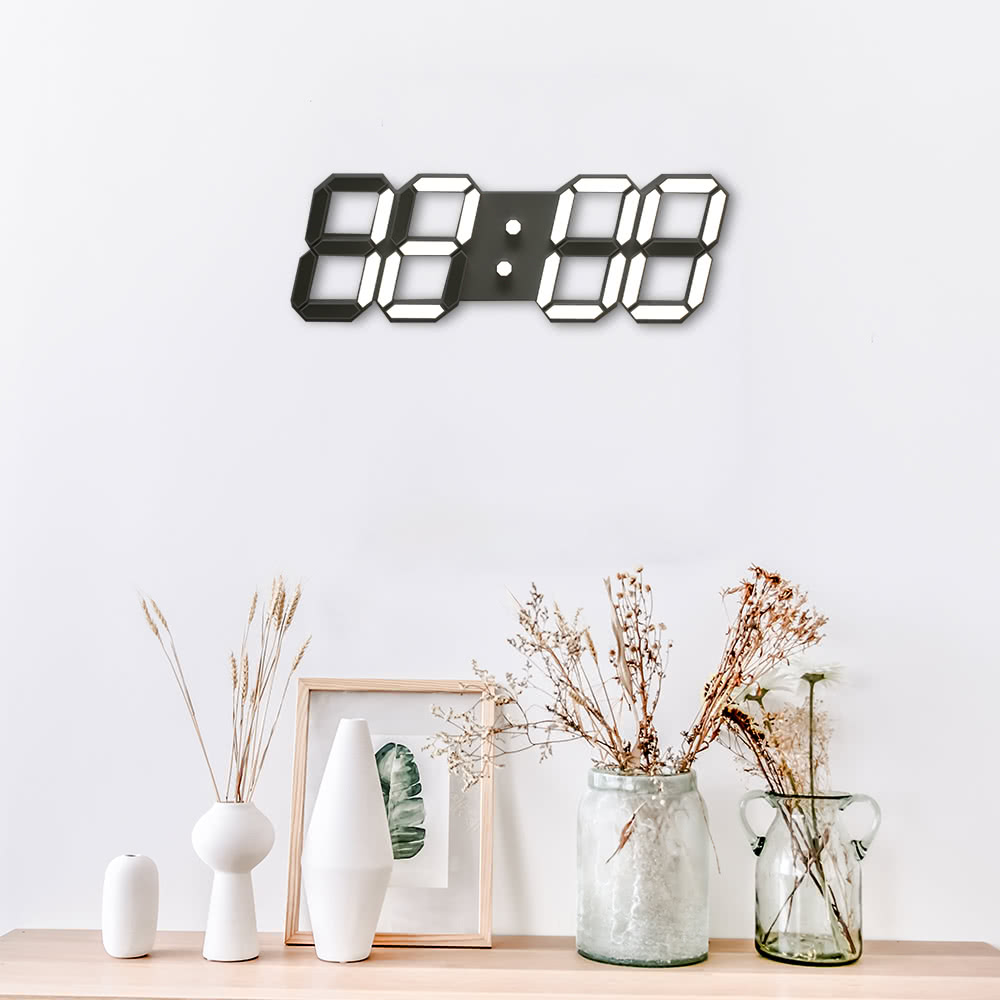 LED 3D Large Black Shell Digital Wall Clock with Remote Control European Regulation 37.4x12.7x2.5cm