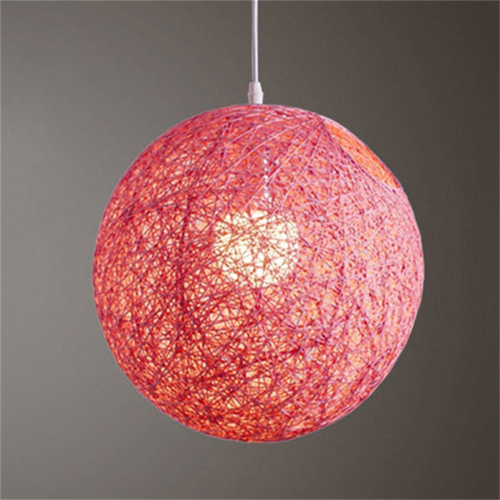 Round Concise Hand-woven Rattan Vine Ball Pendant Lampshade Light Lamp Shades Light Accessories(15cm Diameter) Pink