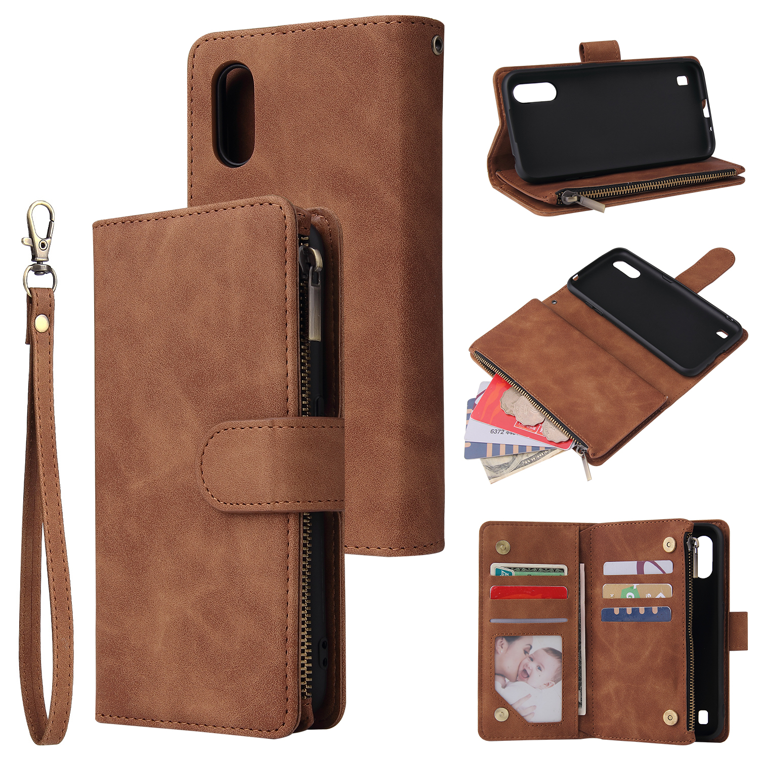 For Samsung A01 Case Smartphone Shell Wallet Design Zipper Closure Overall Protection Cellphone Cover  4 brown