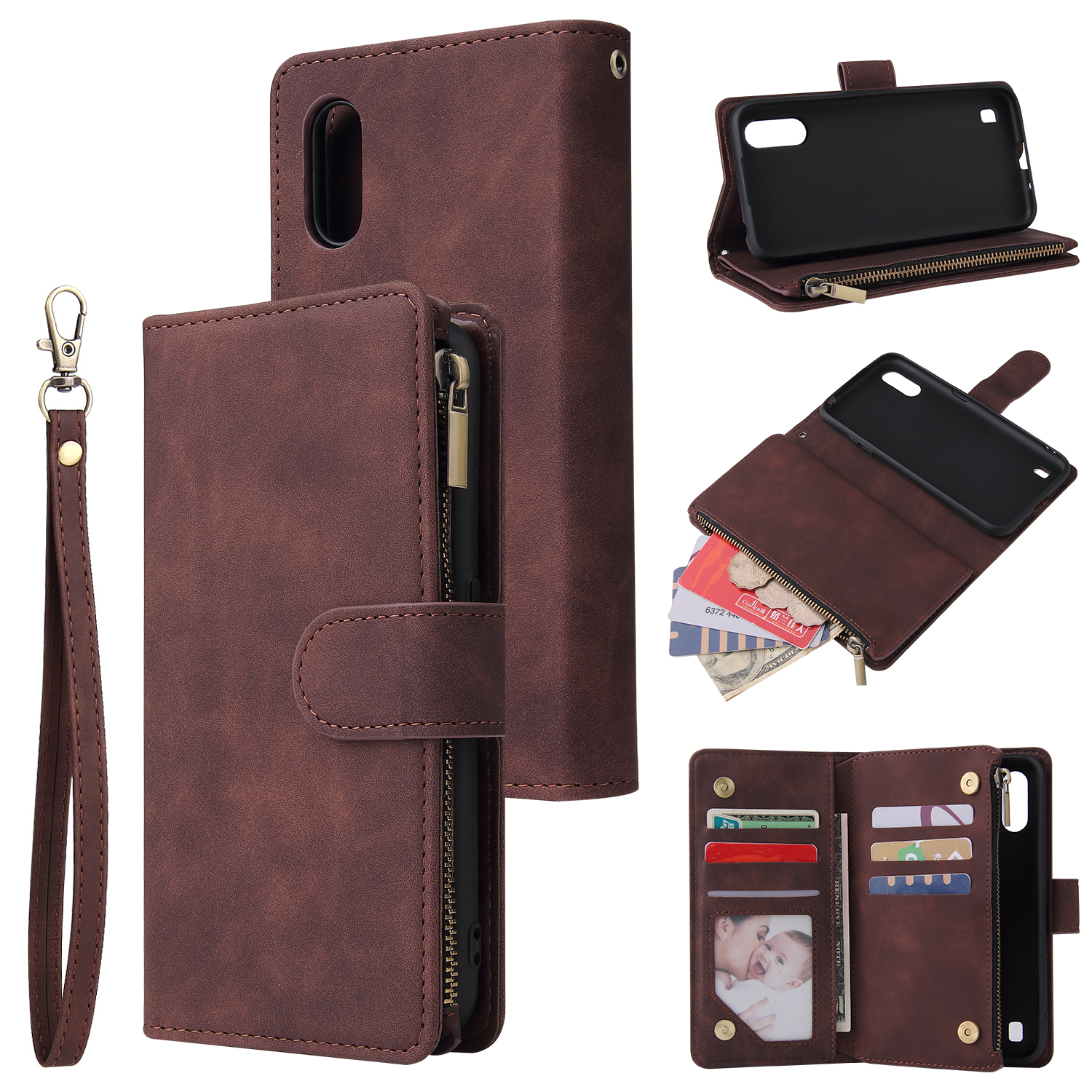 For Samsung A01 Case Smartphone Shell Wallet Design Zipper Closure Overall Protection Cellphone Cover  3 brown