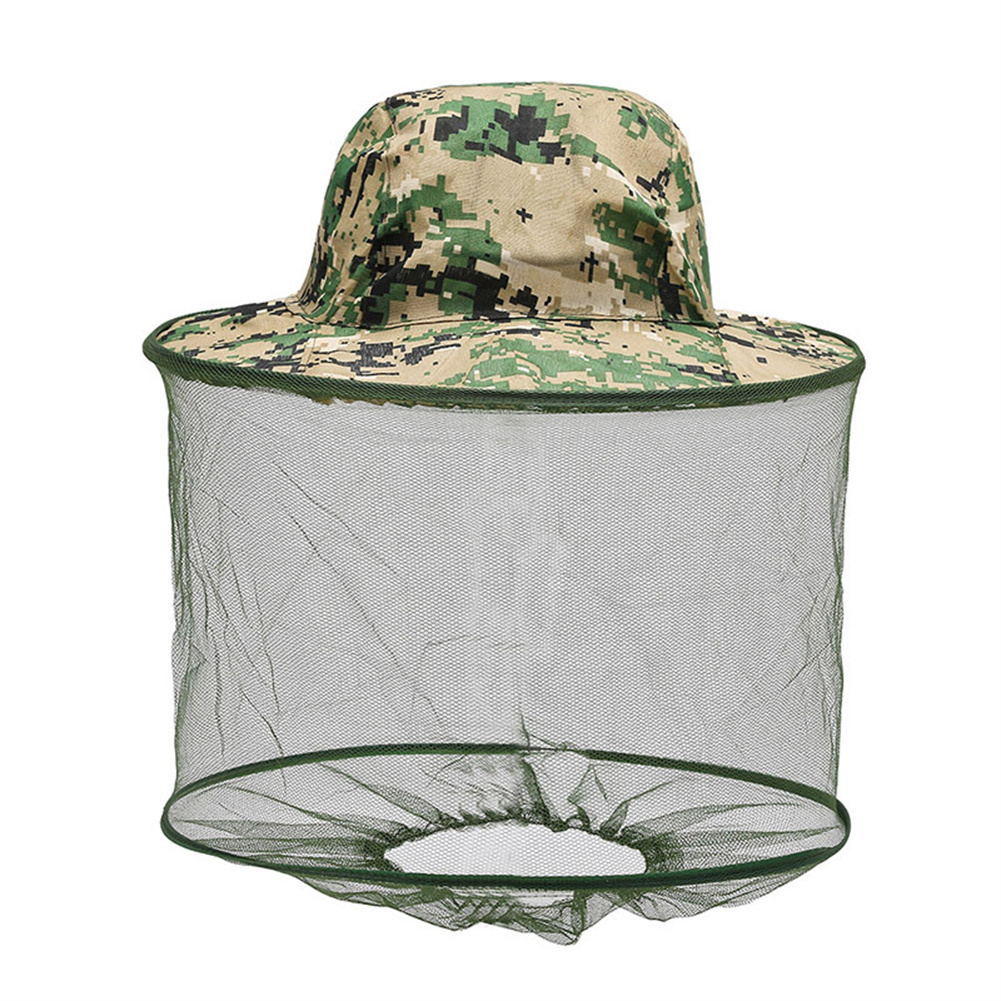 Breathable  Hat With Mesh Outdoor Anti Mosquito Bee Repellent Head Cover With Net Khaki_One size