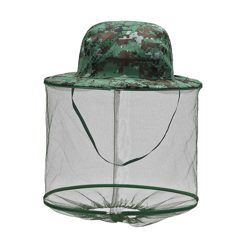 Breathable  Hat With Mesh Outdoor Anti Mosquito Bee Repellent Head Cover With Net ArmyGreen_One size