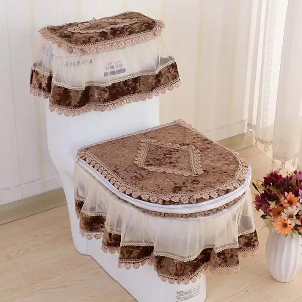 Lace Bathroom Toilet Seat Pad Tank Lid Top Cover Toilet Pad Set Brown