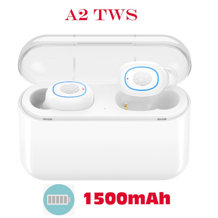 TWS Bluetooth 5.0 Earphones Headphones In-ear Headset Sports Earbud for android ios all smart earphone White 1500 mAh