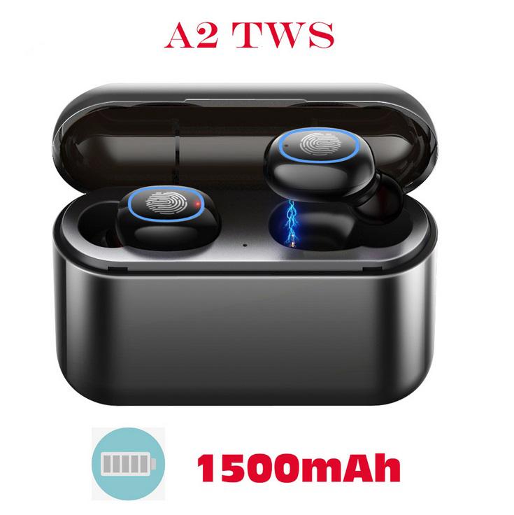 TWS Bluetooth 5.0 Earphones Headphones In-ear Headset Sports Earbud for android ios all smart earphone Black 1500 mAh