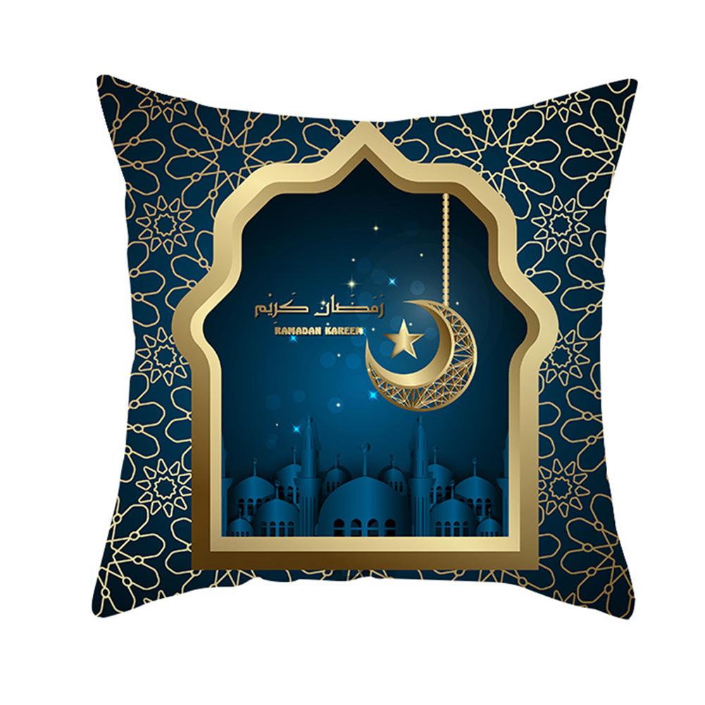 Muslim Ramadan Pillowcase Digital Printing Peach Skin Cushion Cover Home Festival Decoration TPR261-5_45 * 45cm (without pillow)