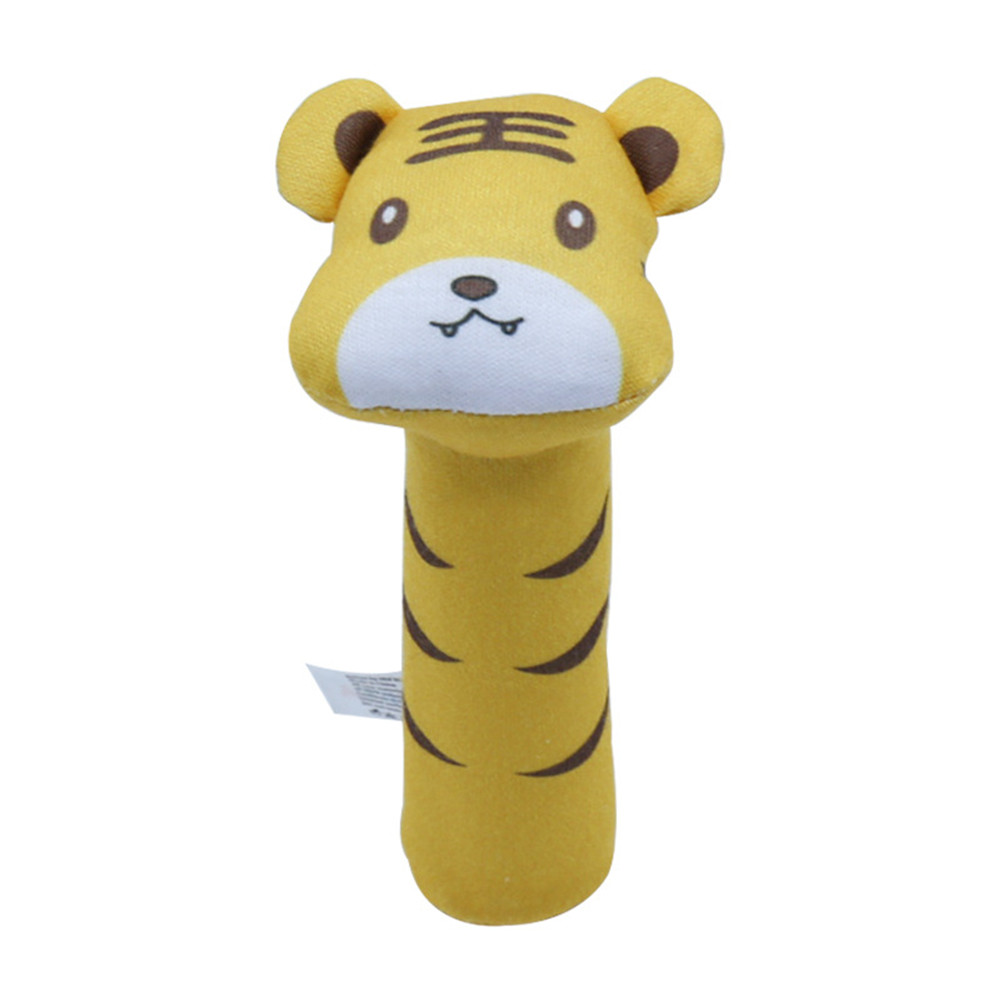 Baby Rattle Cute Cartoon Animal BB Stick Hand Bell Rattle Soft Toddler Plush Toys for 0-3 Years Kids tiger
