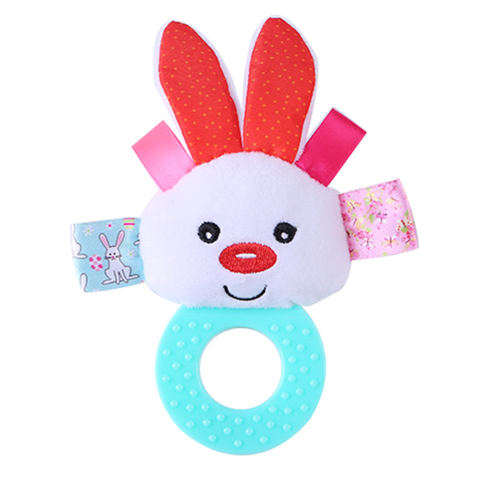 Animal Hand Bells Teether Rattle Doll Plush Baby Rattles Toys Infant Newbron Silicone Plush Toy Teether rabbit