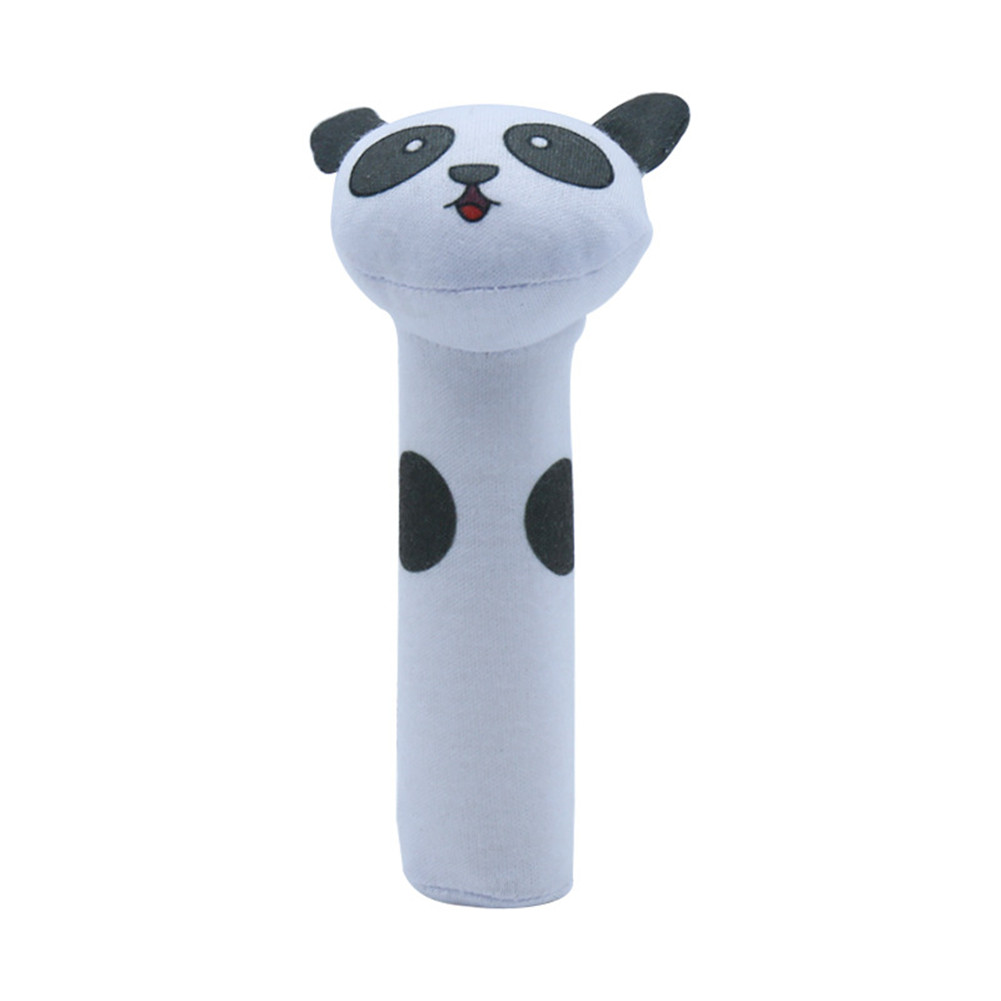 Baby Rattle Cute Cartoon Animal BB Stick Hand Bell Rattle Soft Toddler Plush Toys for 0-3 Years Kids panda