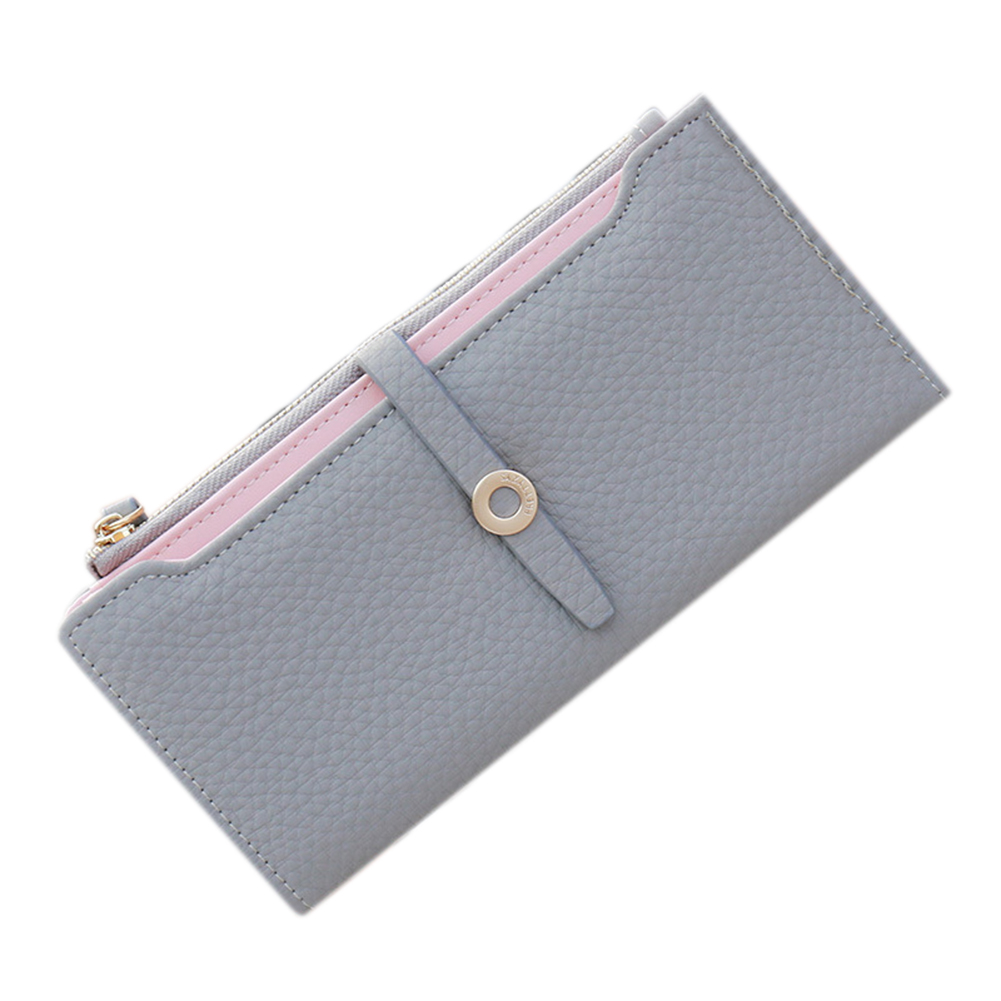 Fashion Women PU Leather Lady Girl Handbag Wallet Button Clutch Card Case Coin Bag Hand Bag Valentine's Day Gifts gray
