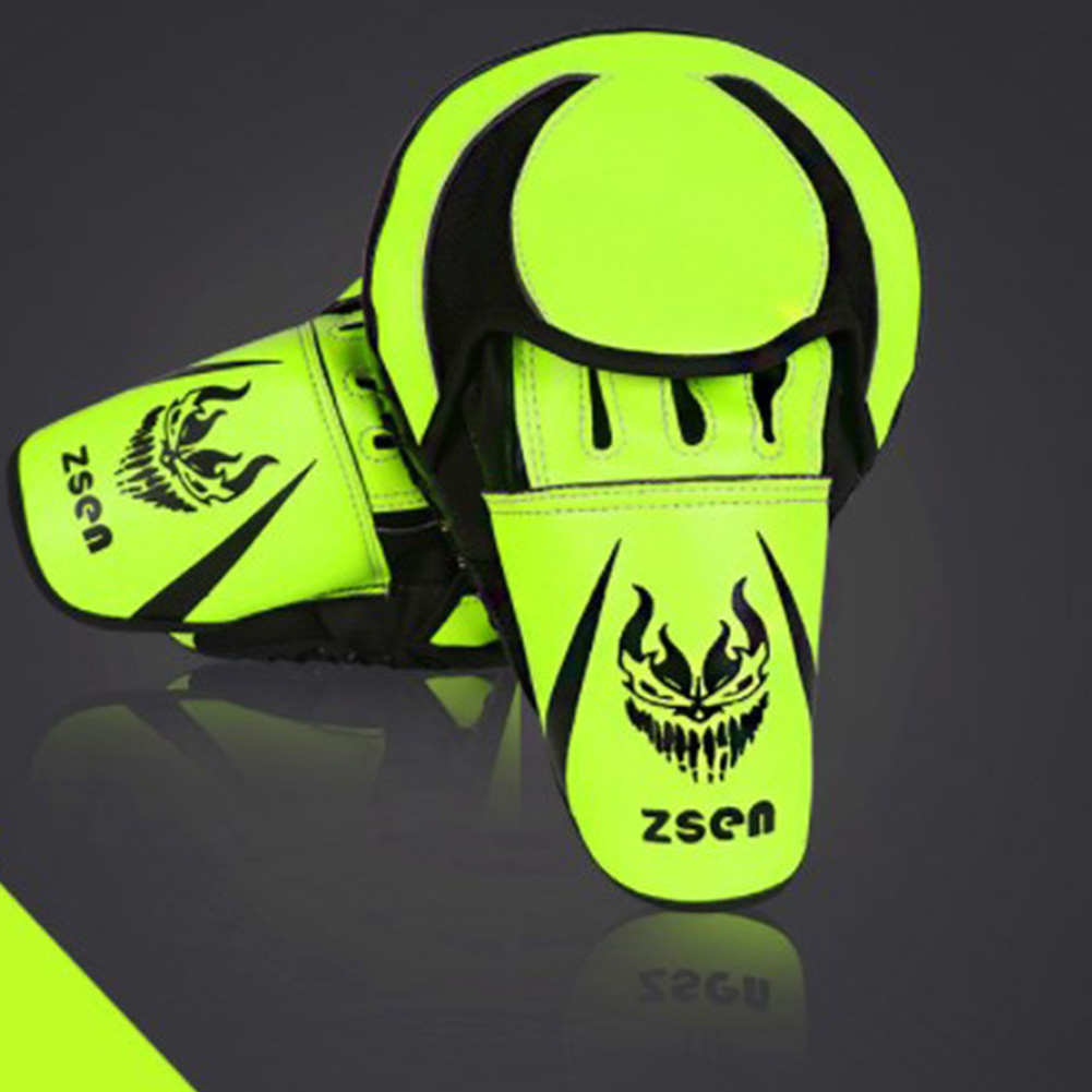 PU Leather Boxing Glove Arc Fist Target Punch Pad for MMA Boxer Muay Thai Training Fluorescent green