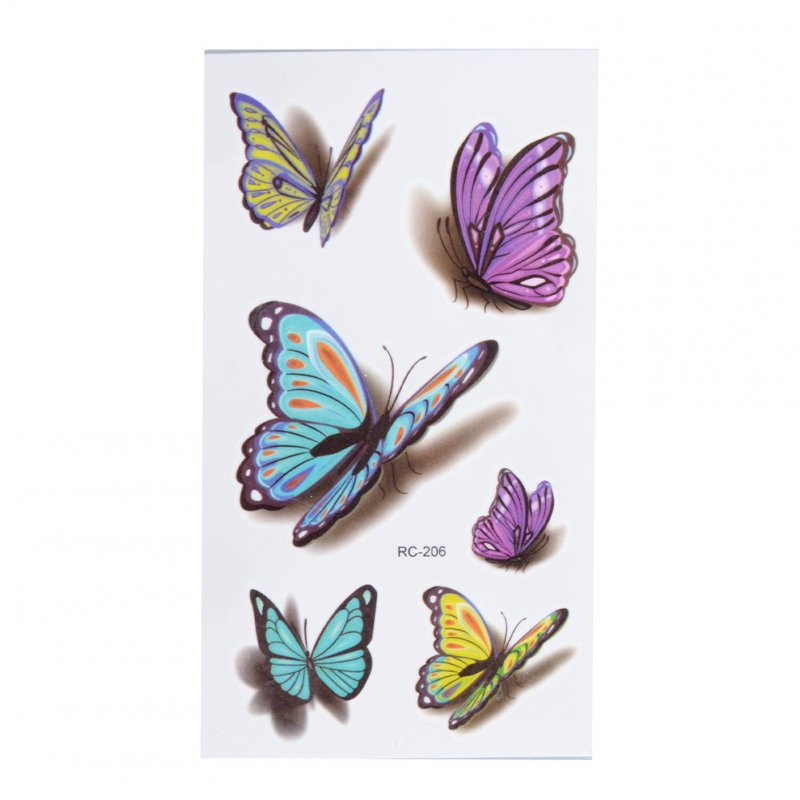 [EU Direct] 1 Sheet 3D Colorful Butterfly Body Art Temporary Tattoos Waterproof Non-toxic Transfer Sticker 105*60mm