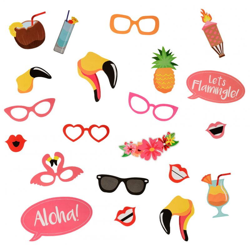 [EU Direct] 21 Pieces Photo Booth Props, DIY Photo Kit with Wood Sticks, Luau Hawaii Themed Paper Pros for Summer Party, Holiday, Beach Pool Parties