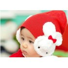 EU Direct  Baby Boy Girl Cartoon Dual Rabbit Ear Earmuffs Hat Warm Soft Knitted Cap red