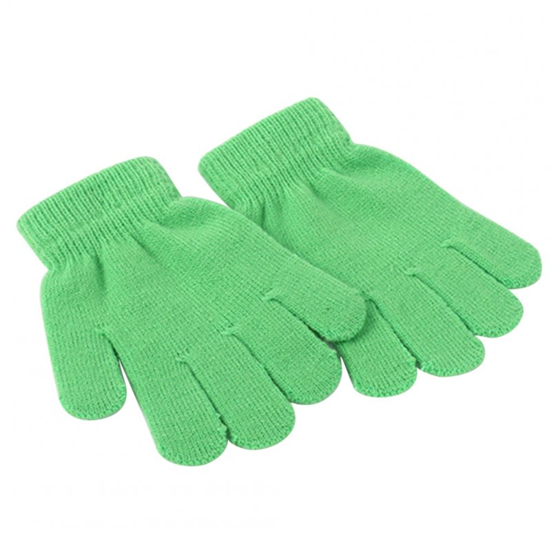 [EU Direct] Children Girl Boy Toddler Warm Solid Color Winter Spring Knit Magic Gloves For 3-13 Years Green