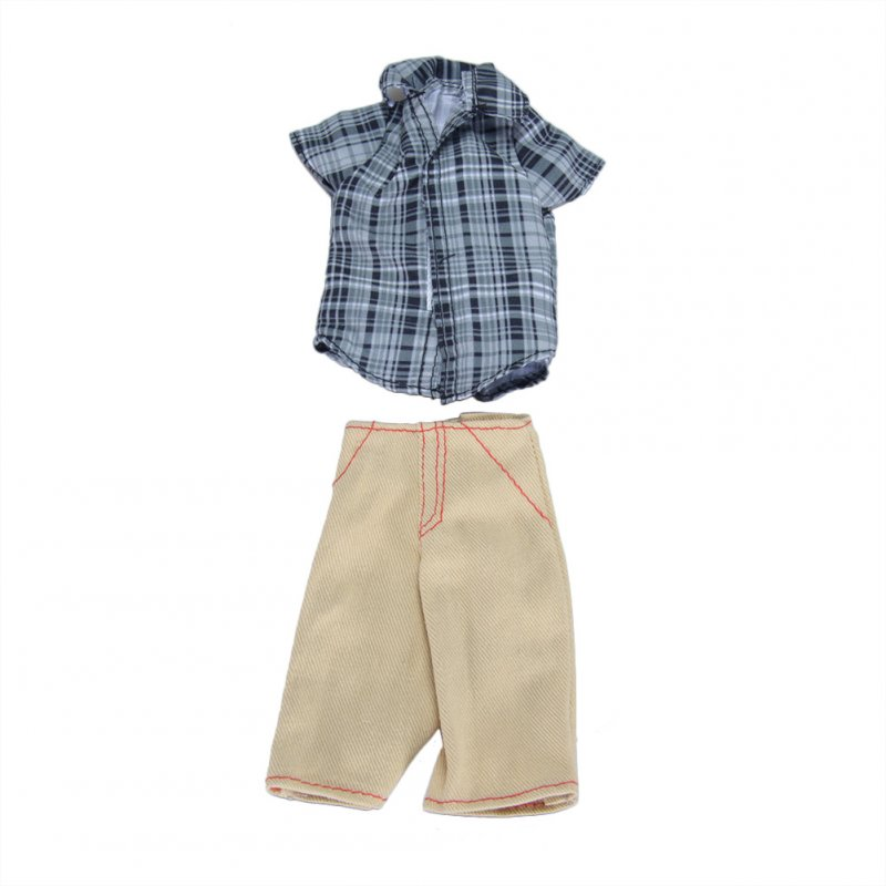 [EU Direct] Doll Clothes Fashion Casual Plaid Shirt with Khaki Shorts Set doll's Boyfriend Ken Doll