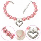EU Direct  Fashion Pet Puppy Dog Cat Piggy Pearl Necklace Pendant Pet Accessories Dogs Cats Collar Pink S