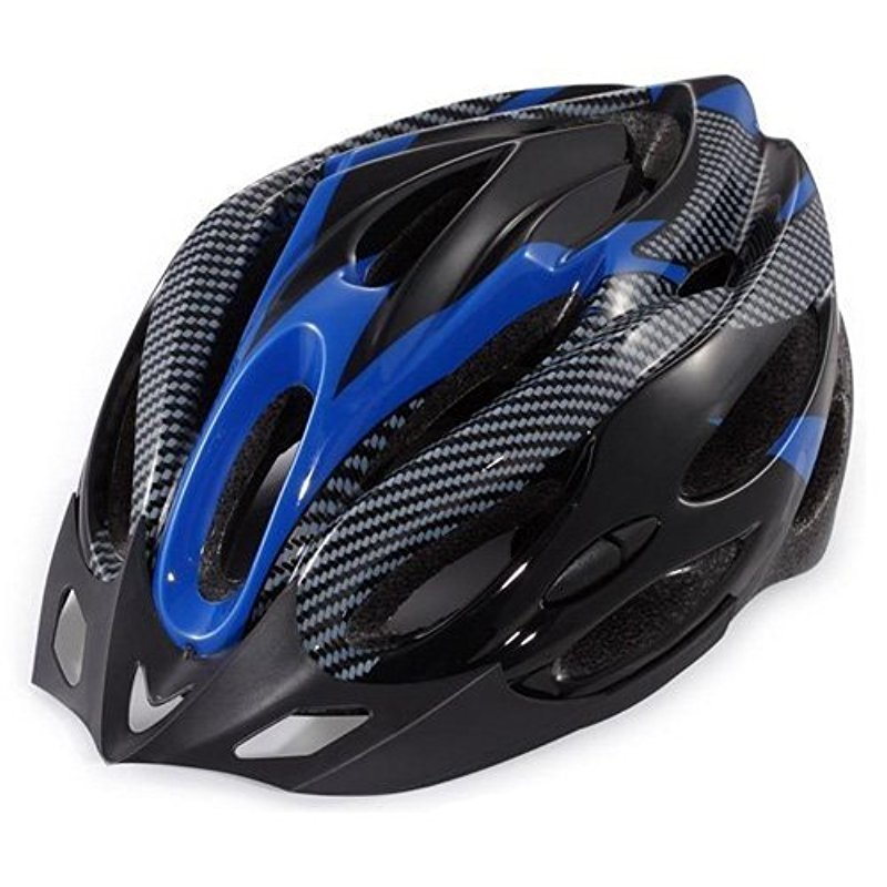 [EU Direct] Generic Cycling Bicycle Adult Bike Safe Helmet Carbon Hat With Visor 19 Holes Blue black blue