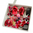 [EU Direct] Girls Sweet Bow Hair Clips Hairbands Ponytail Holder Elastics Hair Accessories Kit Set Red