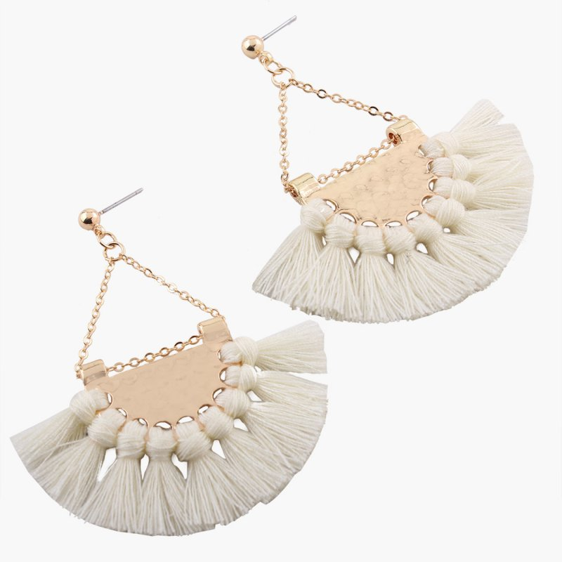 [EU Direct] Gprince European Fashion Fan-shaped Gothic Tassel Earrings Ear Drops Women Jewelry White