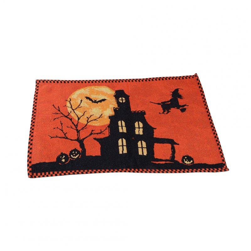 [EU Direct] Halloween Yarn-dyed Jacquard Table Flag Castle Bat Tablecloth Placemat Home Decorations Placemat 33 * 46cm