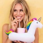 EU Direct  Inflatable Pool Floating Drink Holder Rainbow Unicorn Cup Mat Cup Holder for Kids Bath Pool Parties