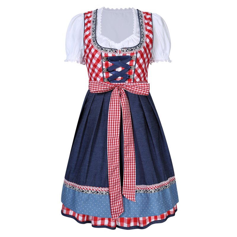 [EU Direct] Kojooin Women's German Dirndl Dress 3 Pieces Oktoberfest Costumes Red_Red plaid
